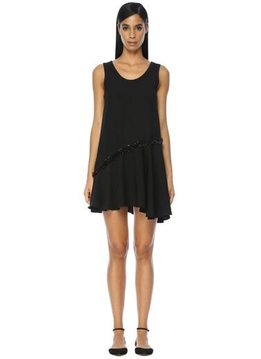 Academia Askılı Volanlı Mini Elbise Siyah